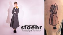 Thumbnail von Kurzreportage: Foto des Original-Mantels neben Tattoo-Version plus Logo Thomas Maria Stoehr
